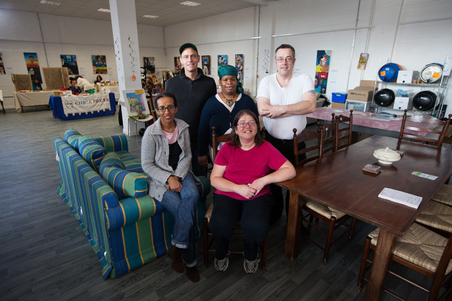 The team from Emmaus Lambeth who provided the furniture for the pop-up pub